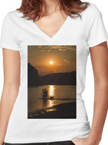 boy and girl  Women's Fitted V-Neck T-Shirt