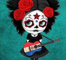 Sugar Skull Girl Playing Paraguay Flag Guitar by Jeff Bartels