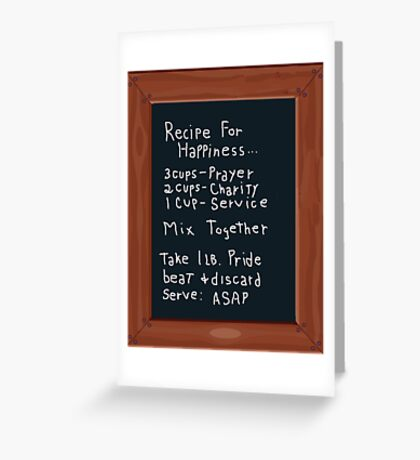 Chalk Board Recipe For Happiness Greeting Card