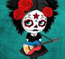Sugar Skull Girl Playing Filipino Flag Guitar by Jeff Bartels