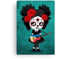 Sugar Skull Girl Playing Filipino Flag Guitar Canvas Print