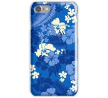 Kona Bay Hawaiian Hibiscus Aloha Shirt Print - Royal Blue iPhone Case/Skin