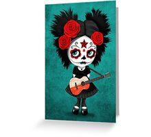 Sugar Skull Girl Playing Polish Flag Guitar Greeting Card