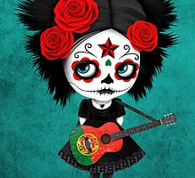 Sugar Skull Girl Playing Portuguese Flag Guitar by Jeff Bartels