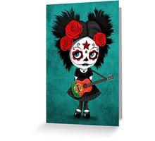 Sugar Skull Girl Playing Portuguese Flag Guitar Greeting Card