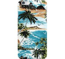 Diamond Head Scenic Hawaiian Aloha Shirt Print - Vintage Colorway iPhone Case/Skin