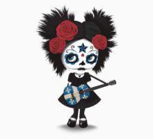 Sugar Skull Girl Playing Quebec Flag Guitar One Piece - Long Sleeve