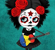 Sugar Skull Girl Playing Romanian Flag Guitar by Jeff Bartels