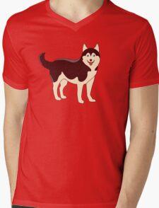 Husky Dog Mens V-Neck T-Shirt