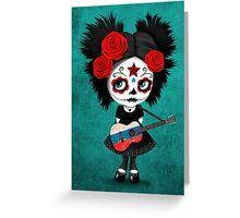 Sugar Skull Girl Playing Russian Flag Guitar Greeting Card