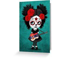 Sugar Skull Girl Playing Serbian Flag Guitar Greeting Card