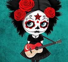 Sugar Skull Girl Playing Singapore Flag Guitar by Jeff Bartels