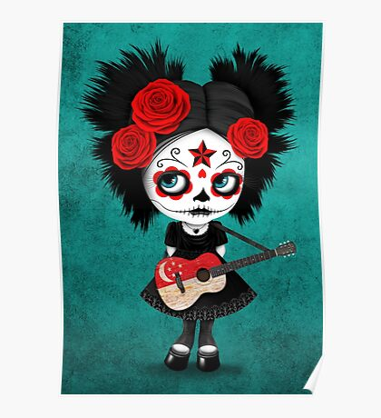 Sugar Skull Girl Playing Singapore Flag Guitar Poster