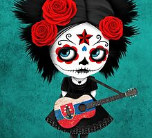 Sugar Skull Girl Playing Slovakian Flag Guitar by Jeff Bartels