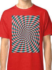 Turquoise and Red Spiral Rays Classic T-Shirt