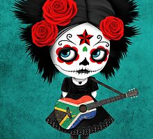 Sugar Skull Girl Playing South African Flag Guitar by Jeff Bartels