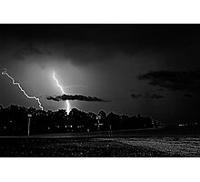 Lightning off Providence Marina Photographic Print