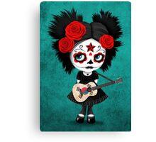 Sugar Skull Girl Playing South Korean Flag Guitar Canvas Print