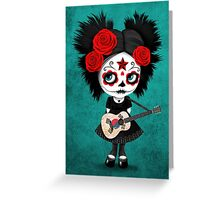 Sugar Skull Girl Playing South Korean Flag Guitar Greeting Card