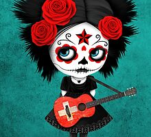 Sugar Skull Girl Playing Swiss Flag Guitar by Jeff Bartels