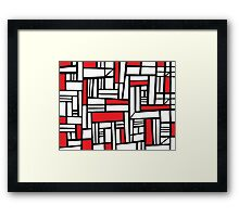 Abeles Abstract Expression Red White Black Framed Print