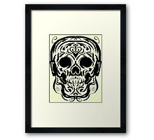 Calligraphic Skull with Headphones Framed Print