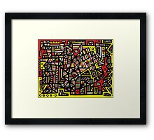 Landrum Abstract Expression Yellow Black Framed Print