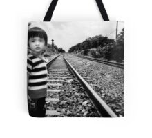 crossing the railroad Tote Bag