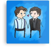 Jack And Ianto Chibis Metal Print