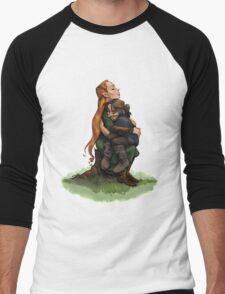 Kiliel: Tauriel and Kili from the Hobbit on a Tree Stump Men's Baseball ¾ T-Shirt