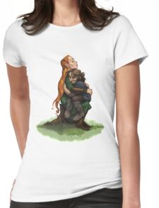 Kiliel: Tauriel and Kili from the Hobbit on a Tree Stump Womens Fitted T-Shirt