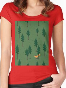 Fox in the woods. Women's Fitted Scoop T-Shirt
