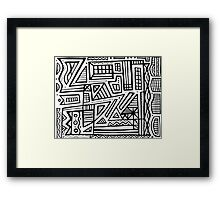 Horsey Abstract Expression Black and White Framed Print