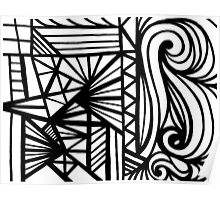 Peffly Abstract Expression Black and White Poster