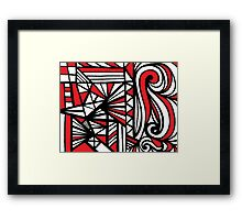 Lechel Abstract Expression Red White Black Framed Print