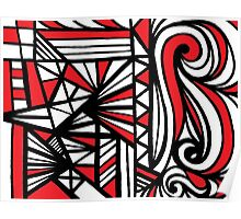 Lechel Abstract Expression Red White Black Poster