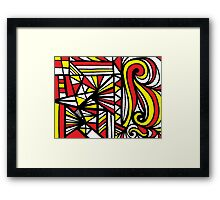 Stoneback Abstract Expression Yellow Red Black Framed Print