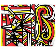 Stoneback Abstract Expression Yellow Red Black Poster