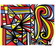 Burch Abstract Expression Yellow Red Blue Poster