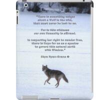 Grey Wolf Running on Frozen Lake & Quote iPad Case/Skin