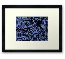 Stepaniak Abstract Expression Blue Black Framed Print