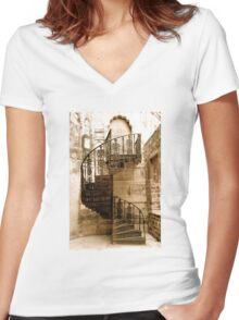 cast iron (stair) case - {no caption} Women's Fitted V-Neck T-Shirt