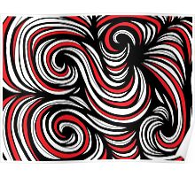 Endorf Abstract Expression Red White Black Poster