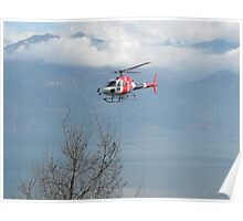 Helicopter working in Lake Como Poster