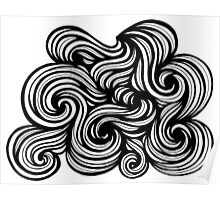 Bright Abstract Expression Black and White Poster