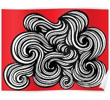Gilkerson Abstract Expression Red White Black Poster