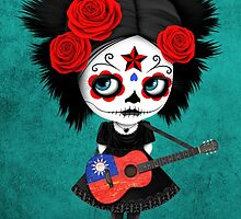 Sugar Skull Girl Playing Taiwanese Flag Guitar by Jeff Bartels