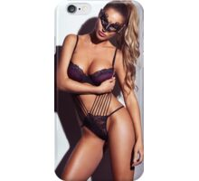 Sexy woman in lingerie wearing face mask art photo print iPhone Case/Skin