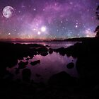 Binalong Bay Tasmania Sunrise with stars & moon by fantasytripp
