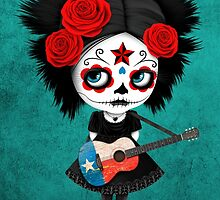 Sugar Skull Girl Playing Texas Flag Guitar by Jeff Bartels